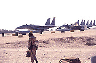 Gulf War One:   F 15 fighters at the airbase in Daharan  Saudi Arabia in Septgemberf 1990<br /><br />Photograph ny Dennis Brack. bb78
