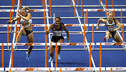 Belarus' Elvira Herman (right) on her way to winning gold in the Women's 100m Hurdle Final during day three of the 2018 European Athletics Championships at the Olympic Stadium, Berlin.