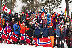March 9, 2019 - Oslo, NORWAY - 190309 Spectators at the stands during the men's 50 km classic technique during the FIS Cross-Country World Cup on March 9, 2019 in Oslo..Photo: Fredrik Varfjell / BILDBYRÃ…N / kod FV / 150211. (Credit Image: © Fredrik Varfjell/Bildbyran via ZUMA Press)