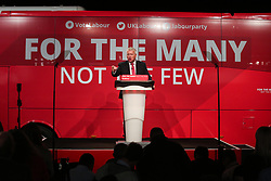 © Licensed to London News Pictures. 09/05/2017. Manchester, UK. Labour politician Ian Lavery speaks to supporters and the media at a rally in Manchester to launch the party's general election election campaign. Photo credit : Ian Hinchliffe/LNP