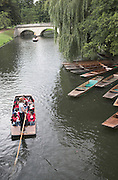 A school group of students in a punt boat on the River Cam, Cambridge, England