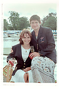 Henley on Thames, England, 1999 Henley Royal Regatta, River Thames, Henley Reach,  [© Peter Spurrier/Intersport Images], Sisters, Sitting, Miriam BATTEN, on the chair arm, Guin BATTEN, after winning, the Women's Invitational Eights race