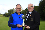 Michael Heeney Connacht Golf presenting Eddie McCormack (Galway) winner of the Connacht Mid Amateur Open, Roscommon Golf Club, Roscommon, Roscommon, Ireland. 17/08/2019.<br /> Picture Fran Caffrey / Golffile.ie<br /> <br /> All photo usage must carry mandatory copyright credit (© Golffile   Fran Caffrey)