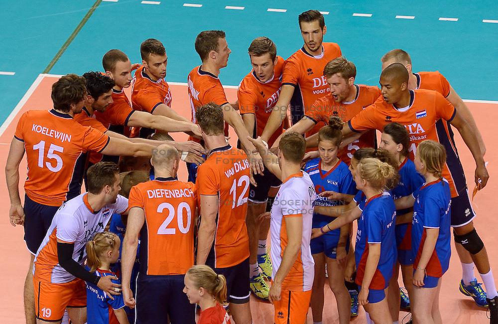 20150614 NED: World League Nederland - Finland, Almere<br /> Nederland klaar voor de tweede wedstrijd tegen Finland