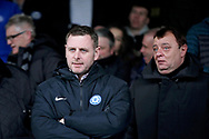Peterborough United owner Darragh McAntony looking angry before the EFL Sky Bet League 1 match between Peterborough United and Charlton Athletic at London Road, Peterborough, England on 26 January 2019.