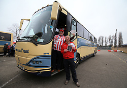 Lincoln City fans John Mann and Ken Morley before departing from Sincil Bank in Lincoln for the Emirates FA Cup match with Arsenal.