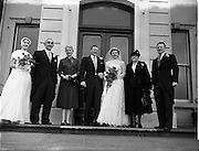 18/02/1957<br /> 02/18/1957<br /> 18 February 1957<br /> Wedding Dr K. Murphy and J. Fitzgerald at St. Mary's Church, Haddington Road and reception at Salthill Hotel, Monkstown. Wedding party outside the hotel.
