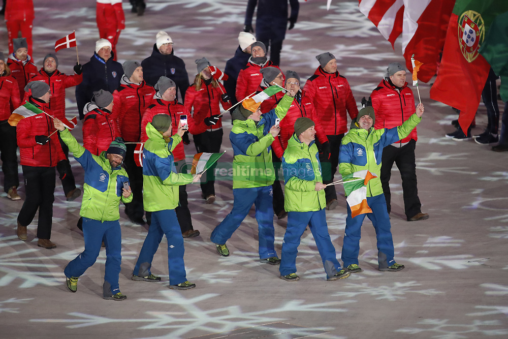 February 25, 2018 - Pyeongchang, KOREA - Athletes from Ireland during the closing ceremony for the Pyeongchang 2018 Olympic Winter Games at Pyeongchang Olympic Stadium. (Credit Image: © David McIntyre via ZUMA Wire)