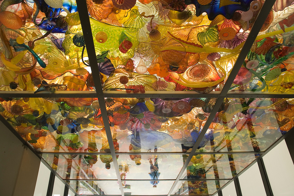Vibrant color, shape, texture and light are at play in this ceiling of translucent blown glass forms, <br /> Seaform Pavillion, glass art by Dale Chihully on Chihuly Glass Bridge, near Museum of Glass, Tacoma, WA, USA   NPR