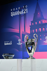 NYON, SWITZERLAND - Monday, December 14, 2020: The European Cup trophy on display during the UEFA Champions League 2020/21 Round of 16 draw at the UEFA Headquarters, the House of European Football. (Photo Handout/UEFA)