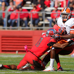 Oct 13, 2012: Syracuse Orange wide receiver Marcus Sales (5) makes a reception and is tackled by Rutgers Scarlet Knights defensive back Logan Ryan (11) during NCAA Big East college football action between the Rutgers Scarlet Knights and Syracuse Orange at High Point Solutions Stadium in Piscataway, N.J.