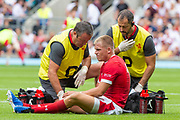 Twickenham, Surrey, World Cup, Sunday, Sunday, 11/08/2019  2019 World Cup, Warm up match, Quilter International, England vs Wales, at the RFU Stadium  [© Peter SPURRIER/Intersport Image]<br /> <br /> Medics, attending to Gareth Anscombe of Wales