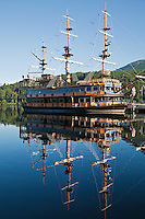 Pirate Ship on Lake Ashi- known as Ashinoko is a scenic lake in Hakone. The lake is known for its views of Mt. Fuji.  Several ferries cruise the lake, providing scenic views for passengers. One of the boats is a full-scale replica of a man-of-war pirate ship. A number of pleasure boats and ferries traverse Lake Ashi or Ashinoko on which passengers can enjoy the scenic views.  These pirate ships are somehow to enhance the excursion - though Hakone has never been known as an enclave of pirates one can only wonder at the reason for the decorations on these boats.