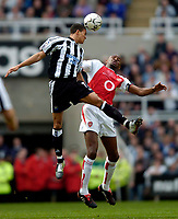 Fotball<br /> Photo. Jed Wee, Digitalsport<br /> NORWAY ONLY<br /> Newcastle United v Arsenal, FA Barclaycard Premiership, St James' Park, Newcastle. 11/04/2004.<br /> Newcastle's Jermaine Jenas (L) wins the ball in the air from Arsenal's Patrick Viera.