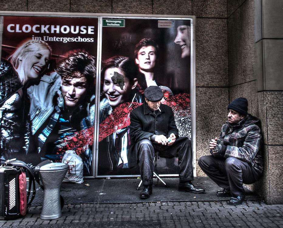 Street musicians taking a break