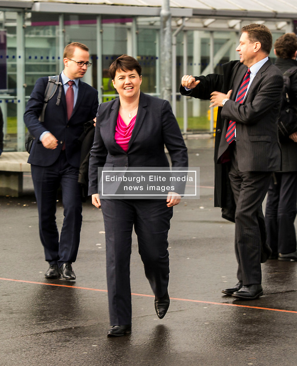 Pictured: Ruth Davidson<br /> <br /> Scottish Conservatives leader Ruth Davidson and shadow finance secretary Murdo Fraser headed to Edinburgh Airport to meet Ahmet Serhat Sari, Turkish Airlines General manager for Scotland, 4 years after the airline opened up the route from the capital to Ankera. Ms Davison was keen to discuss the expansion of the Scottish economy.<br /> <br /> Ger Harley | EEm 9 December 2016