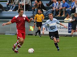 FODBOLD: Casper Skovgaard Andersen (Allerød) følges af Ronni Andersen (Helsingør) under kampen i Danmarksserien, pulje 1, mellem Elite 3000 Helsingør og Allerød FK den 7. september 2008 på Helsingør Stadion. Foto: Claus Birch
