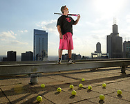 OCTOBER 9, 2017 - CHICAGO, IL:  Louisville Slugger Slow Pitch softball shoot in Chicago, Illinois, featuring athletes Jeff Hall, Ryan Stoval and Steven Lloyd at various locations (Lincoln Park south softball fields, rooftop of the Prudential Building and along and near Maggie Daley Park in Chicago, Illinois on October 9, 2017.