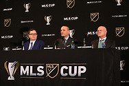 ATLANTA, GA - DECEMBER 07: MLS executives (from left): Mark Abbott, commissioner Don Garber, and Gary Stevenson. The MLS State of the League Address and Press Conference was held on December 7, 2018 at the Westin Peachtree Plaza, Atlanta Peachtree Ballroom in Atlanta, GA.
