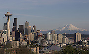 Clear skies bring out Mt. Rainier in the distance on a sunny April day in Seattle.<br />