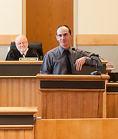 Shane Fifield prepares to speak with Judge Carroll and those gathered in Laconia Circuit Court during the Recovery Program graduation ceremony held Tuesday afternoon.    (Karen Bobotas/for the Laconia Daily Sun)