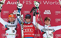 19.12.2010, Gran Risa, Alta Badia, ITA, FIS World Cup Ski Alpin, Men, Giant Slalom, im Bild Podium v.l. Cyprien Richard (FRA, #9) Platz 2, Ted Ligety (USA, #6) Platz 1 und Thomas Fanara (FRA, #19) Platz 3. EXPA Pictures © 2010, PhotoCredit: EXPA/ J. Groder