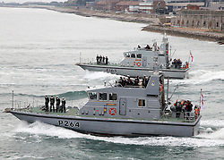 © under license to London News Pictures.  15/04/2011 A Squadron of P2000 class of ships which are manned by university students but are commanded by an RN officer leave Portsmouth today. Once in open water they will start a series of complex manoeuvres, sailing in tight groupings. At the head of the formation was the First Sea Lord Admiral Sir Mark Stanhope who then sailed past and reviewed each of the ships and the crews in formation.. Picture credit should read: Bryan Moffat/London News Pictures
