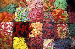 Sweet stall in La Boqueria market; Barcelona,
