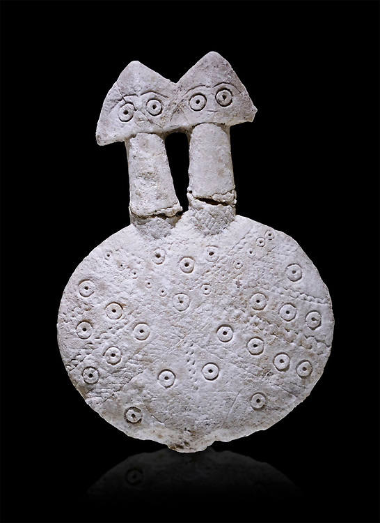 Bronze Age Anatolian two headed disk shaped alabaster Goddess figurine - 19th to 17th century BC - Kültepe Kanesh - Museum of Anatolian Civilisations, Ankara, Turkey.  Against a black background. .<br /> <br /> If you prefer to buy from our ALAMY PHOTO LIBRARY  Collection visit : https://www.alamy.com/portfolio/paul-williams-funkystock/kultepe-kanesh-pottery.html<br /> <br /> Visit our ANCIENT WORLD PHOTO COLLECTIONS for more photos to download or buy as wall art prints https://funkystock.photoshelter.com/gallery-collection/Ancient-World-Art-Antiquities-Historic-Sites-Pictures-Images-of/C00006u26yqSkDOM