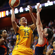 UNCASVILLE, CONNECTICUT- JUNE 5:  Marissa Coleman #25 of the Indiana Fever shoots over Kelly Faris #34 of the Connecticut Sun during the Indiana Fever Vs Connecticut Sun, WNBA regular season game at Mohegan Sun Arena on June 3, 2016 in Uncasville, Connecticut. (Photo by Tim Clayton/Corbis via Getty Images)