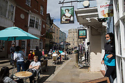 Local residents and visitors enjoy subsidised Bank Holiday Monday lunches close to Windsor Castle on the final day of the government's Eat Out To Help Out meal scheme on 31 August 2020 in Windsor, United Kingdom. Many restaurant owners have called for an extension to the scheme introduced by the Chancellor of the Exchequer to help preserve hospitality jobs during the COVID-19 pandemic.