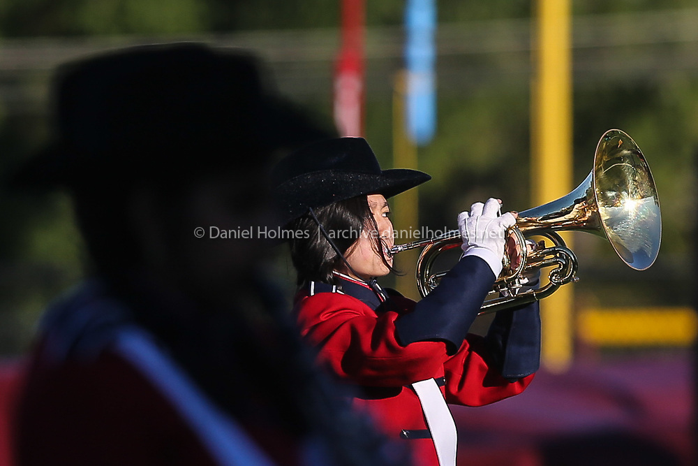 (10/4/19, WESTBOROUGH, MA) Westborough's Celina Xiong plays in the band during halftime during the Midland Wachusett League matchup against Grafton at Westborough High School on Friday. [Daily News and Wicked Local Photo/Dan Holmes]