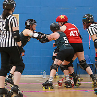 Wiltshire Roller Derby face Dorset Roller Girls in the Semi Finals of the Tier 2 WFTDA British Champs Playoffs 2019 at Fenton Manor Sports Complex, Stoke-on-Trent, 2019-09-22