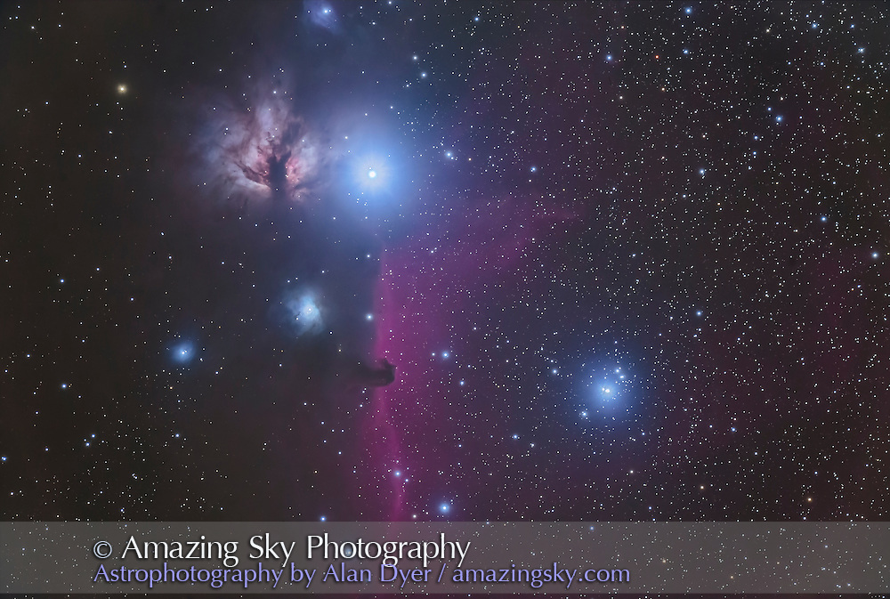 The multiple star Sigma Orionis just right of centre, near the Horsehead Nebula in Orion, and with the Flame Nebula, NGC 2024, above. <br /> <br /> This is a stack of 8 x 5 minute exposures with thr 130mm Astro-Physics refractor at f/6 with the Canon 6D (not modified) at ISO 1600, plus a single 1-minute exposure added in for the bright stars to prevent them from being blown out too much.  Even the long exposures were kept short so as not to overexpose the star too much — the focus was on the stars not on going deep to bring out the faint nebulosity. Shot Feb 17, 2017 from home. Some light cloud added glows to the stars.