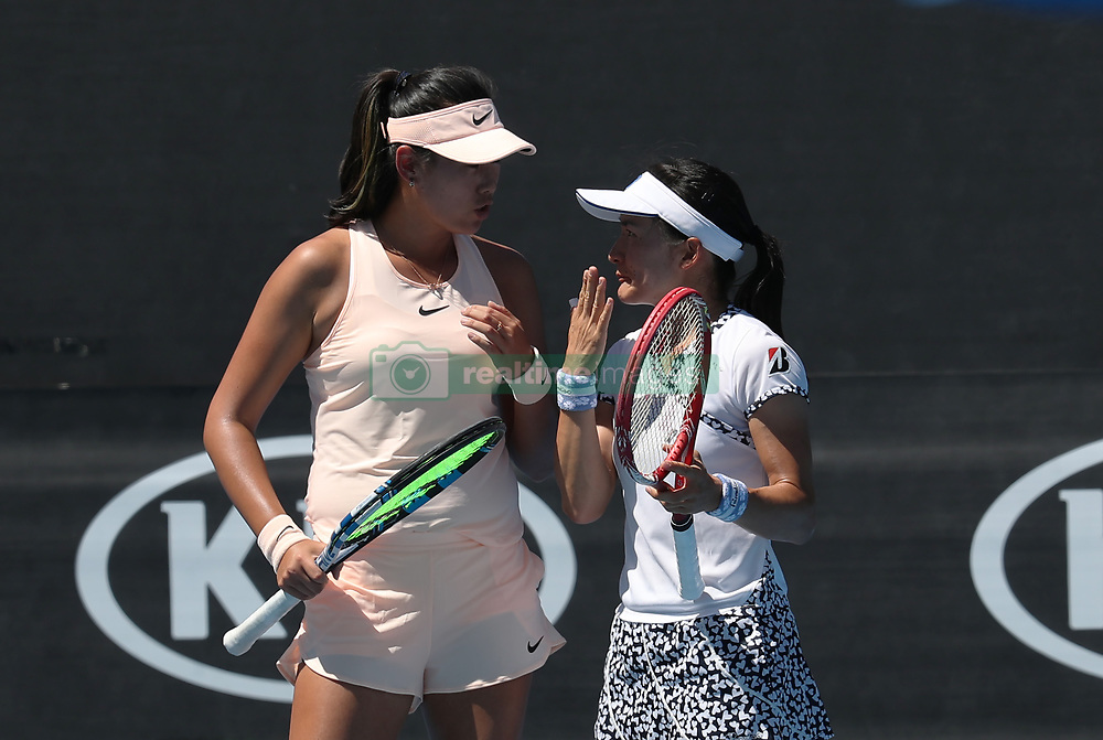 MELBOURNE, Jan. 18, 2018  Yang Zhaoxuan (L) of China and Aoyama Shuko of Japan comunicate during the women's doubles first round match against Taylor Townsend of the U.S. and Renata Voracova of the Czech Republic at Australian Open 2018 in Melbourne, Australia, Jan. 18, 2018. Yang Zhaoxuan and Aoyama Shuko won 2-0. (Credit Image: © Bai Xuefei/Xinhua via ZUMA Wire)