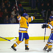 Max Macharg (left) celebrates after scoring for Southern Stampede with team mate Michael Sommer during the Southern Stampede V West Auckland Admirals New Zealand Ice Hockey League match at the Queenstown Ice Arena, Queenstown, South Island, New Zealand, 4th June 2011