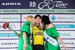Race winner Dylan Groenewegen of Team Lotto NL Jumbo celebrates during Trophy ceremony after the 2nd Stage of 25th Tour de Slovenie 2018 cycling race between Maribor and Rogaska Slatina (152,7 km), on June 14, 2018 in  Slovenia. Photo by Vid Ponikvar / Sportida
