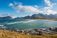 View over beach from Yttersand, Moskenesoy, Lofoten Islands, Norway