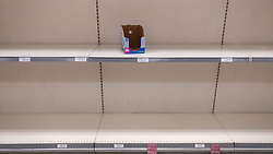 © Licensed to London News Pictures. 05/03/2020. WATFORD, UK.  Stocks of toilet rolls on the shelves of a Waitrose supermarket near Watford are nil as the public reacts to the threat of the coronavirus (COVID-19) in the UK.  The number of people diagnosed positive has reached 115 and the first UK death related to coronavirus has just been reported.  Photo credit: Stephen Chung/LNP
