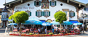 Religious painting of Passion Scene on Alte Post hotel in village of Oberammergau in Upper Bavaria, Germany