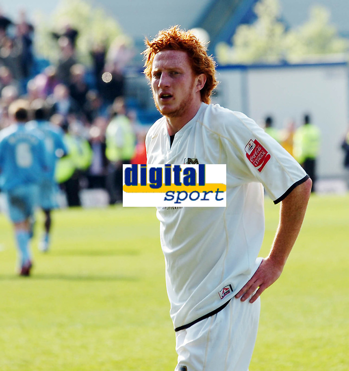 Photo: Kevin Poolman.<br />Milton Keynes Dons v Tranmere Rovers. Coca Cola League 1. 29/04/2006. <br />MK player Dean Lewington leaves the field after his team lost 2-1 to Tranmere.