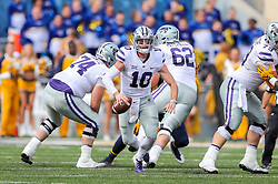 Sep 22, 2018; Morgantown, WV, USA; Kansas State Wildcats quarterback Skylar Thompson (10) runs the ball during the first quarter against the West Virginia Mountaineers at Mountaineer Field at Milan Puskar Stadium. Mandatory Credit: Ben Queen-USA TODAY Sports