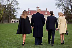 U.S. First Lady Melania Trump, from left, U.S. President Donald Trump, Emmanuel Macron, France's president, and Brigitte Macron, France's first lady, walk to stand for photographers outside the Mansion at the Mount Vernon estate of first U.S. President George Washington in Mount Vernon, Virginia, U.S., on Monday, April 23, 2018. As Macron arrives for the first state visit of Trump's presidency, the U.S. leader is threatening to upend the global trading system with tariffs on China, maybe Europe too. Photographer: Andrew Harrer/Bloomberg