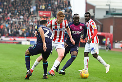 February 23, 2019 - Stoke On Trent, England, United Kingdom - Sam Clucas (22) of Stoke City battles with Ahmed Elmohamady (27) of Aston Villa and Albert Adomah (37) of Aston Villa during the Sky Bet Championship match between Stoke City and Aston Villa at the Britannia Stadium, Stoke-on-Trent on Saturday 23rd February 2019. (Credit Image: © Mi News/NurPhoto via ZUMA Press)
