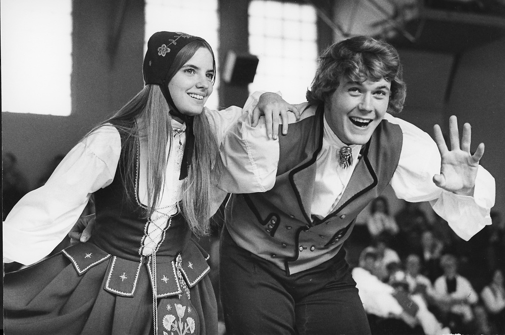 ©1975 Stoughton, WI Norwegian Dancers in action at local school