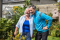 No repro fee<br /> 14-7-2017<br /> Picture shows Age Action client Carmel Gormley; and  Alan Brogan, Former Dublin star;  in  Carmel's  garden in East Wall, Dublin, as Age Action and Bank of Ireland took part in the Bank of Ireland Backyard Blitz, which will see 320 bank volunteers swap their calculators for watering cans and their spreadsheets for spades to give their older neighbours a 'dig out' in their gardens..Pic:Naoise Culhane-no fee