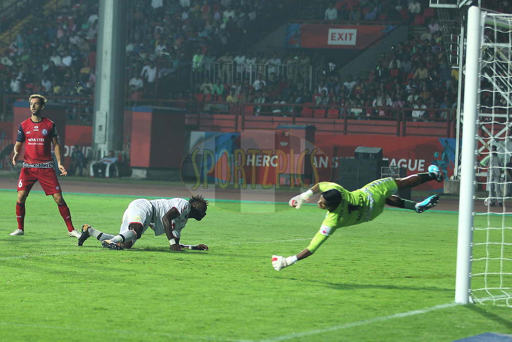 Mourtada Fall of FC Goa hits goal during match 25 of the Hero Indian Super League 2018 ( ISL ) between Jamshedpur FC and FC Goa held at JRD Tata Sports Complex, Jamshedpur, India on the 1st November  2018<br /> <br /> Photo by: Deepak Malik /SPORTZPICS for ISL