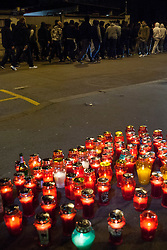 Fans of KK Union Olimpija, Green Dragons bring candles in front of the Government of the Republic of Slovenia in protest due to the cancellation of the football Derby between NK Olimpija and NK Maribor on October 24, 2015 in  Ljubljana, Slovenia. Photo by Urban Urbanc / Sportida.com