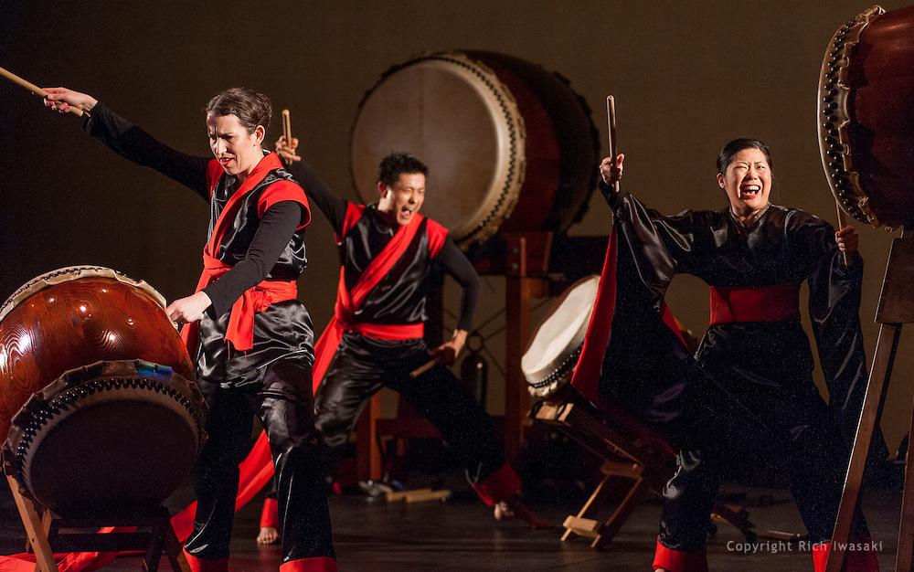 "Members of Portland Taiko perform the program ""Insatiable"" at Lincoln Hall, Portland State University, Portland, Oregon"