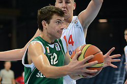 Nejc Zupan of Slovenia vs Vasilije Vucetic of Serbia during basketball match between National teams of Serbia and Slovenia in Division A of U16 Men European Championship Lithuania 2012, on July 21, 2012 in Panevezys, Lithuania. (Photo by Robertas Dackus / Sportida.com)